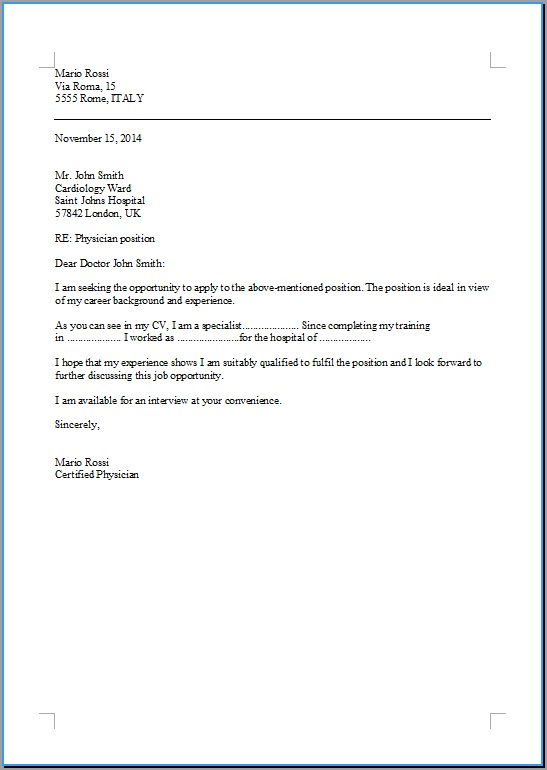 Cover Letter Cameriere