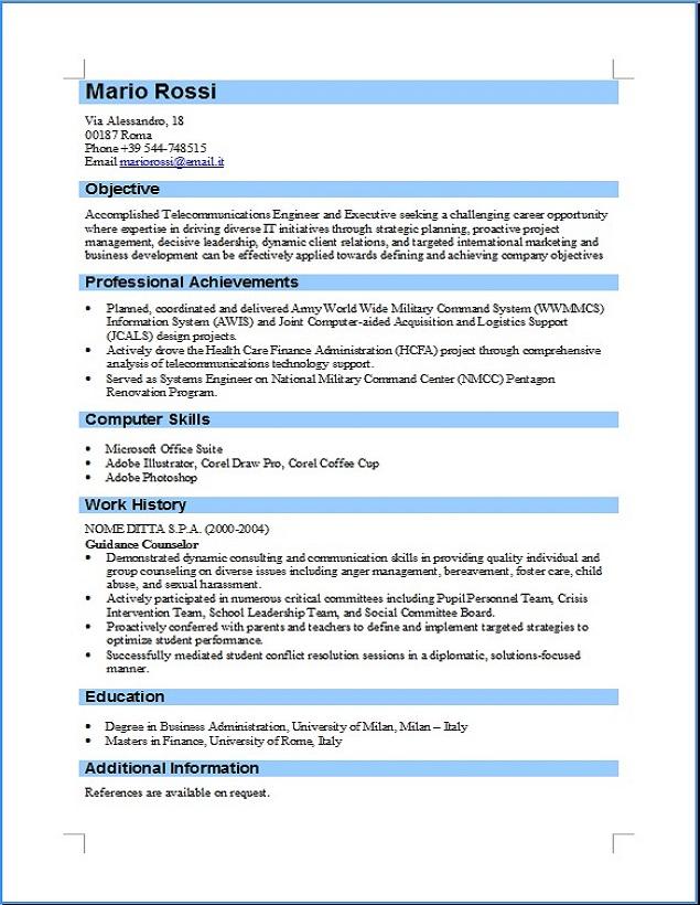 Curriculum Vitae Formato Europeo Compilato Insegnante Firmakoek