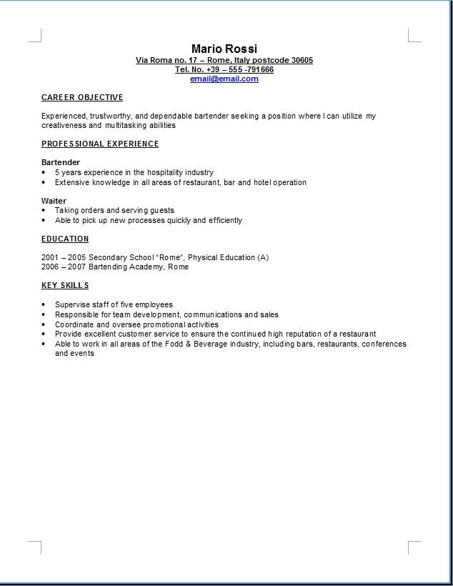 esempio di un curriculum in inglese